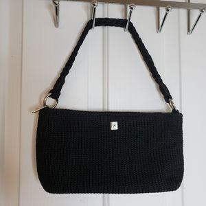 Lina Small Black Crochet Bag
